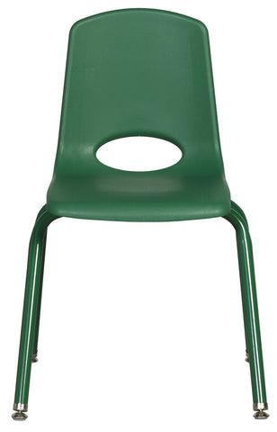 16inch Stack Chair, Hunter Green, Chrome Swivel Glide (MS) (WPO)