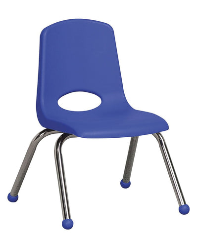 10 inch Stack Chair, Blue, Chrome Ball Glide (MS)