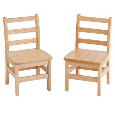 12inch 3 Rung Ladderback Chairs, Natural, 2-Pack (MS)