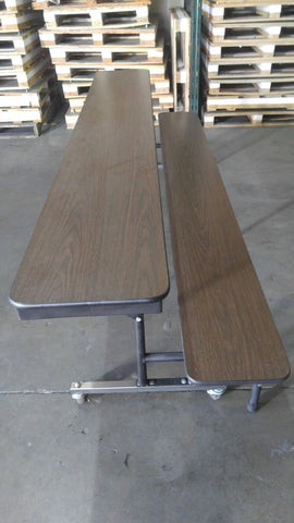 8ft Mobile Convertible Bench Table, Walnut, Adult Size (RF)
