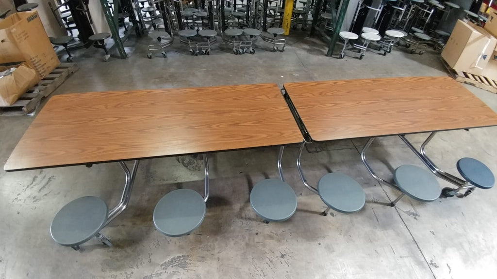 12ft Cafeteria Lunchroom Mobile Table w/ Stool Seat, Wood Grain Top, Grey Seat, Elementary Size (RF)