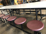 12ft Cafeteria Lunch Table w/ 16 Stool Seat, Grey Top, Burgundy Seat, Elementary Size (RF)