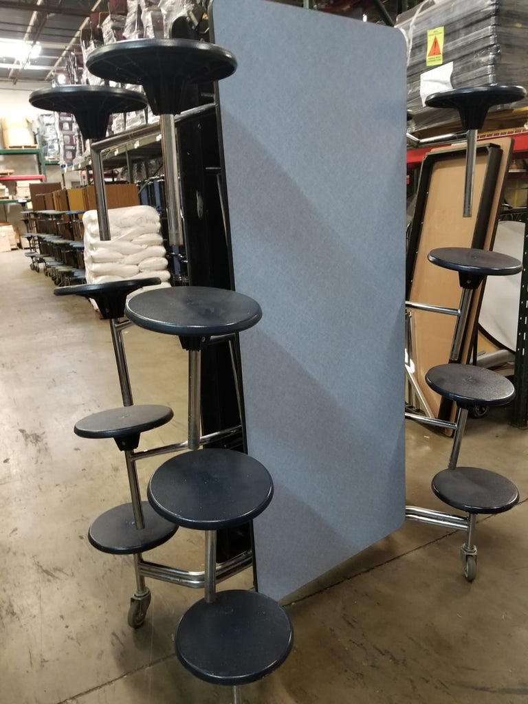 12ft Cafeteria Lunch Table w/ 16 Stool Seat, Blue Glace Top, Navy Blue Seat, Elementary Size (RF)