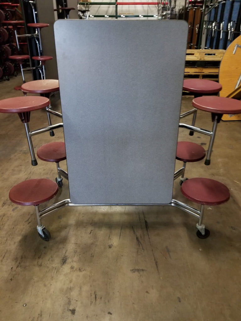 8ft Cafeteria Lunch Table w/ Stool Seat, Grey Top, Burgundy Seat, Adult Size (RF)