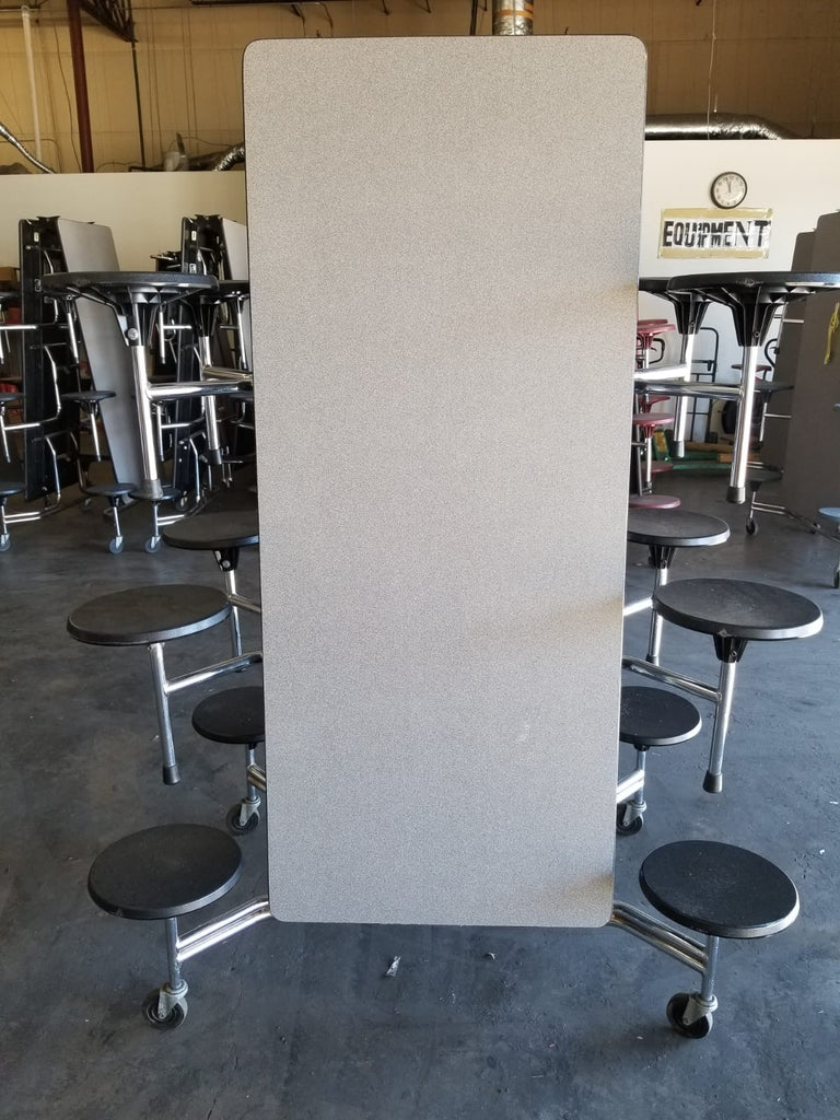12ft Cafeteria Lunch Table w/ Stool Seat, Grey Top, Black Seat, Adult Size (RF)