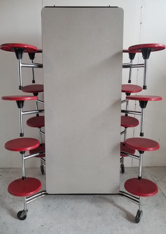 12ft Cafeteria Lunch Table w/ 16 Stool Seat, Grey Top, Red Seat, Elementary Size (RF)