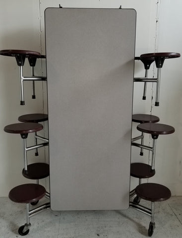 12ft Cafeteria Lunch Table w/ Stool Seat, Grey Top, Burgundy Seat, Adult Size (RF)