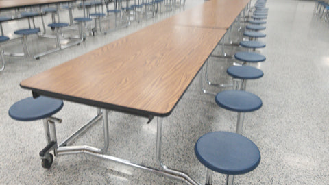 12ft Cafeteria Lunch Table w/ Stool Seat, Wood Grain Top, Blue Seat, SLED Adult Size (RF)