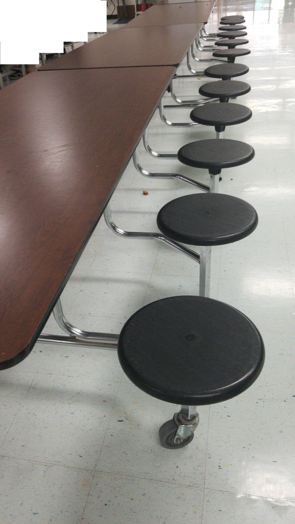 12ft Cafeteria Lunch Table w/ Stool Seat, WalnutTop, Black Seat, Adult Size (RF)