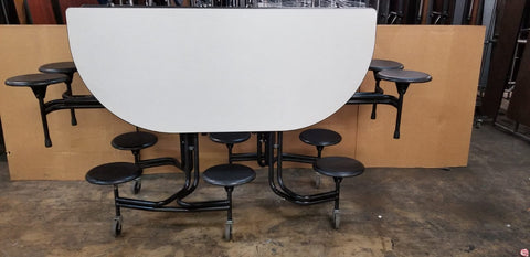 "Cafeteria Lunch Table w/ Stool Seat, Grey Top, Black Seat, OVAL, 72"" L x61"" W, Adult Size (RF)"