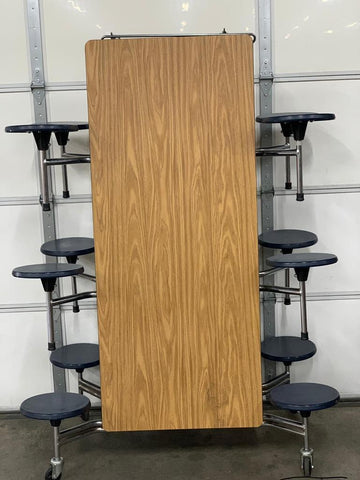 12ft Cafeteria Lunch Table w/ Stool Seat, Wood Grain Top, Blue Seat, Adult Size (RF)