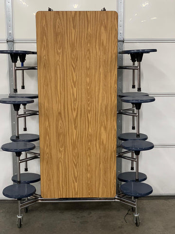 12ft Cafeteria Lunch Table w/ 16 Stool Seat, Oak Top, Navy Blue Seat, Elementary Size (RF)