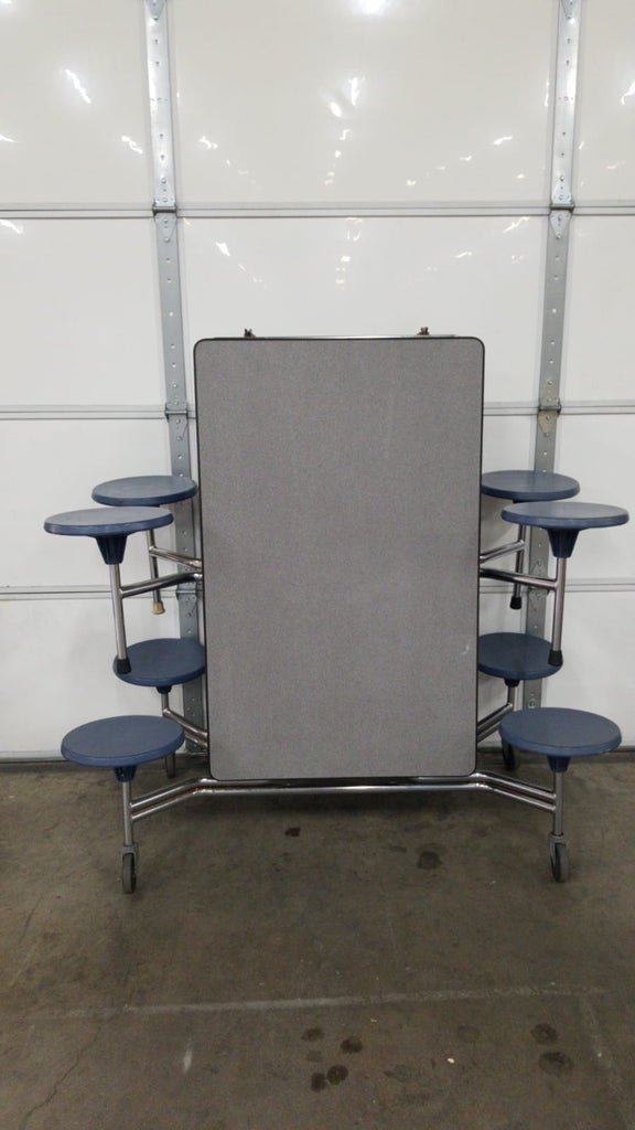 8ft Cafeteria Lunch Table w/ Stool Seat, Grey Top, Blue Seat, Adult Size (RF)