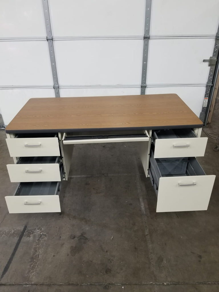 "Teacher Desk - 30""D x 60""W, Double Pedestal, Wood Grain Top, White Frame (RF)"