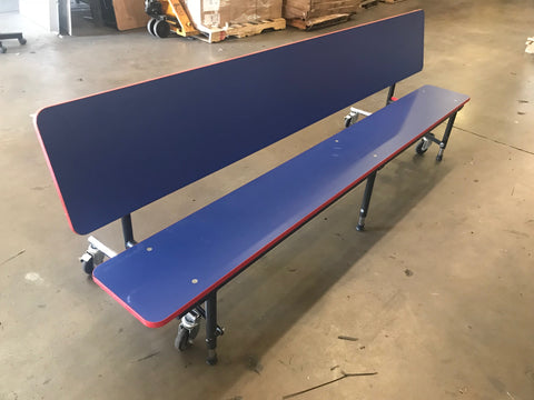 8ft Mobile Convertible Bench Table, Blue, Adult/Elementary Adjustable Height Size (RF)