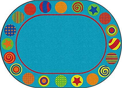 Patterned Circles Oval Rug 6' x 8'4 (MS)
