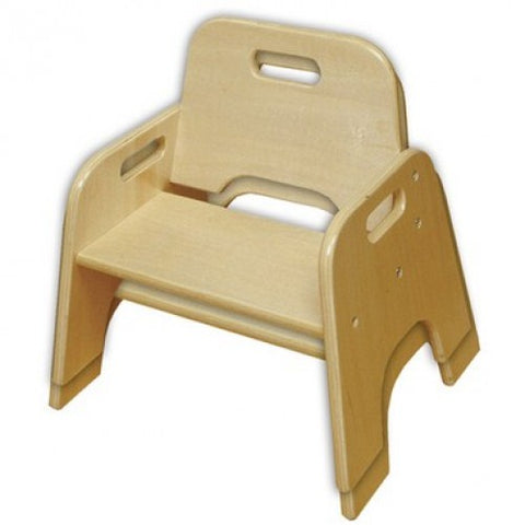 10in Stackable Wooden Toddler Chair, Natural, 2-Pack (MS)