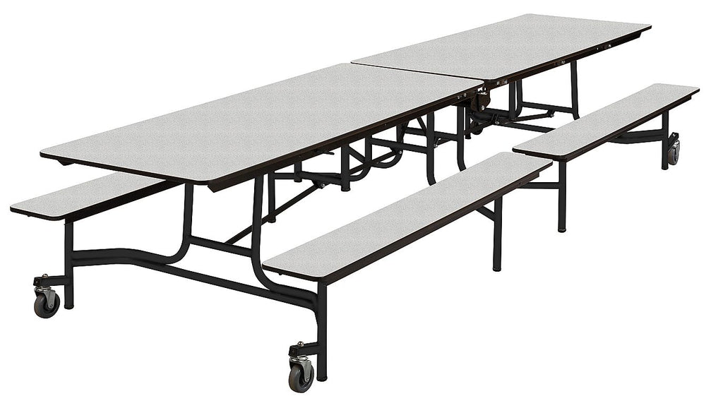 12ft Artco Bell Cafeteria Lunch Table w/ Bench Seat, Grey Nebula, Brand New (MS)