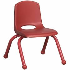 10inch Stack Chair, Red, Painted Ball Glide (MS)