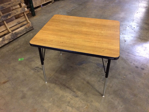 30in x 30in Square Activity Table, Adjustable Legs, Wood Grain Top (RF)