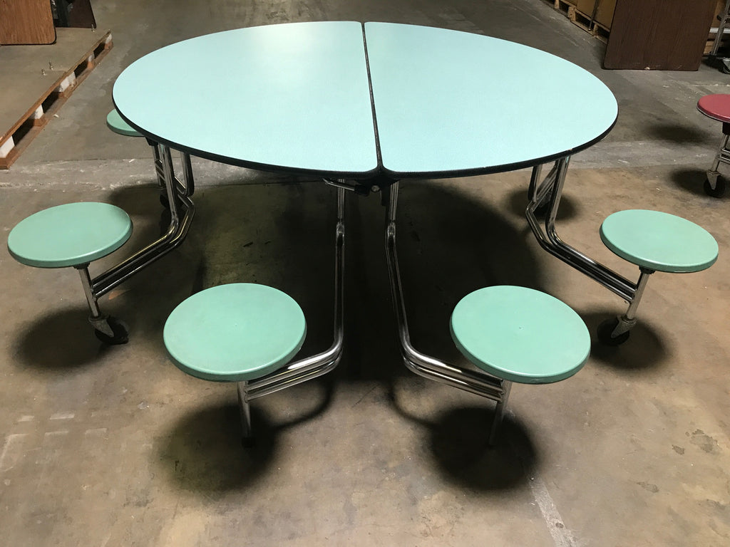 60in Round Cafeteria Lunch Table w/ 8 Stool Seat, Green, Adult Size (RF)