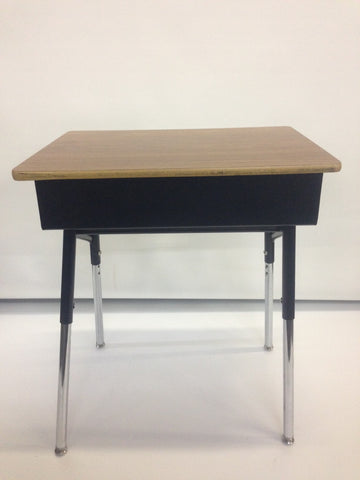 Metal Open Front Student Desk, Wood Grain Top - (RF)