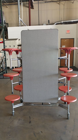 10ft Cafeteria Lunch Table w/ Stool Seat, Grey Top, Red Seat, Adult Size (RF)