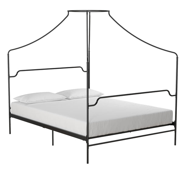 Shop Rayen Grey Upholstered Metal Canopy Queen Bed By Inspire Q