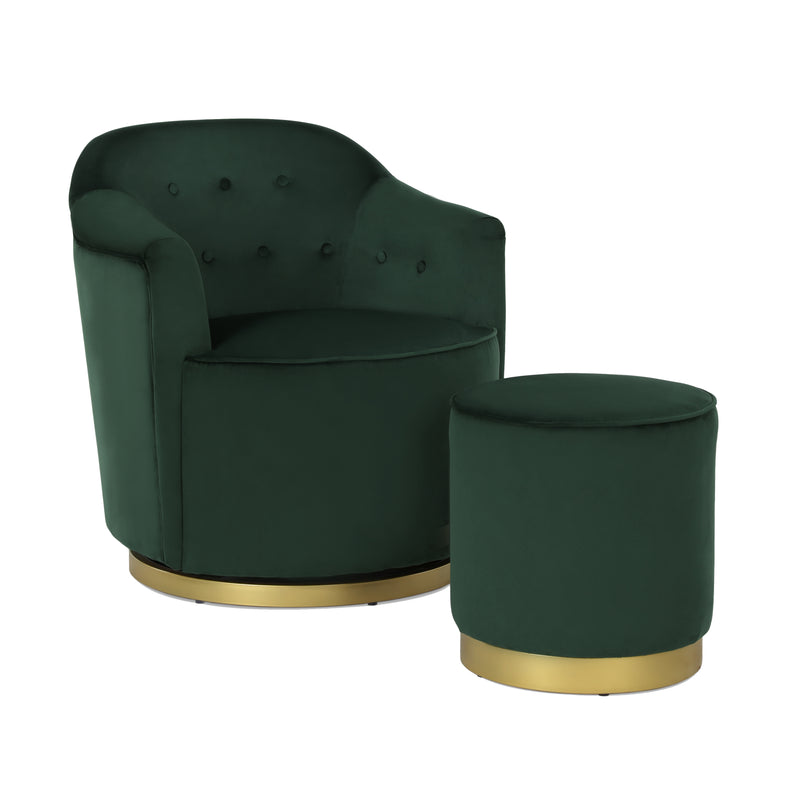 Azalea Swivel Chair & Ottoman Set
