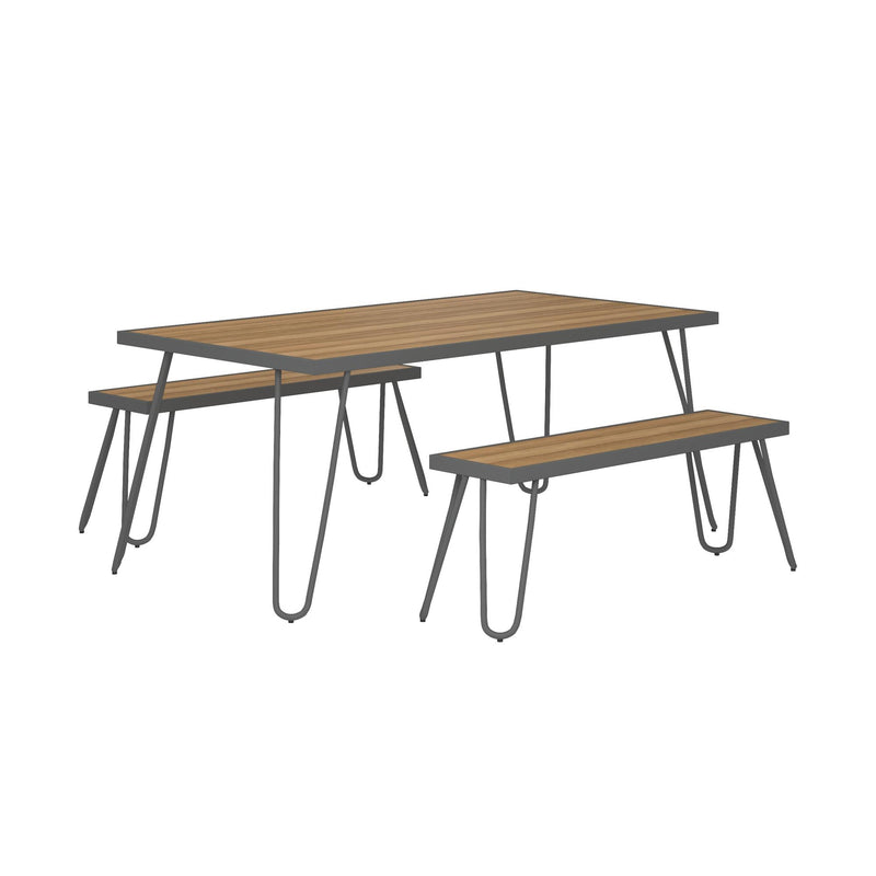 Paulette Outdoor Table + Bench Set
