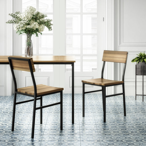 Linden Wood and Metal Dining Chairs (Set of 2)