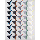 Airplane Houndstooth Gray Rug