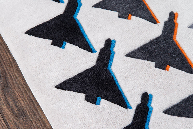 Airplane Houndstooth Rug - Grey