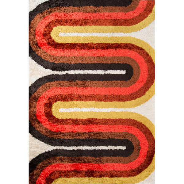 Retro Wave Red Shag Rug