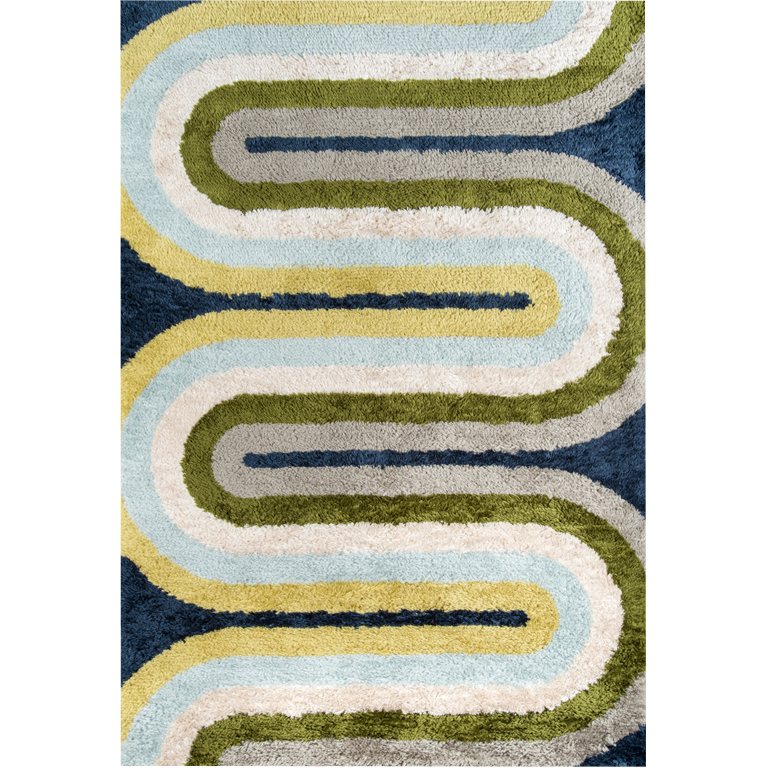 Retro Wave Shag Rug - Blue