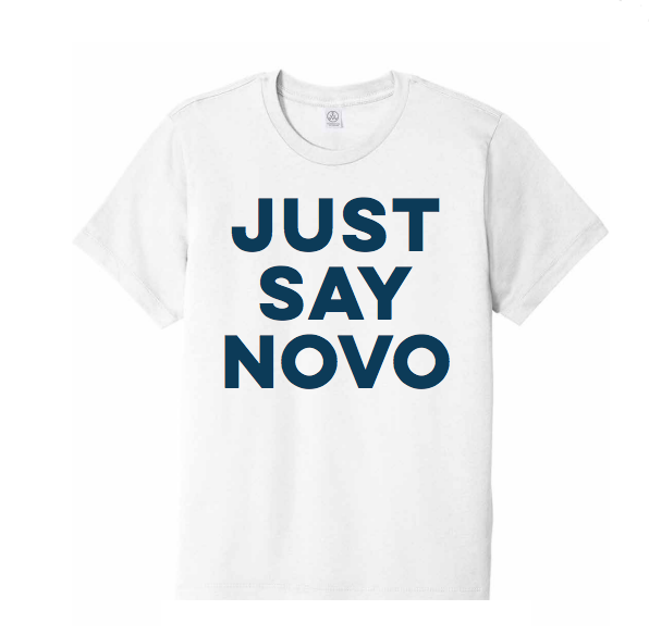 Just Say Novo T-Shirt in White with Distressed Imprint