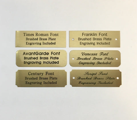 "1""x3"" Engraved Brushed Brass Plate Black Etched Letters"