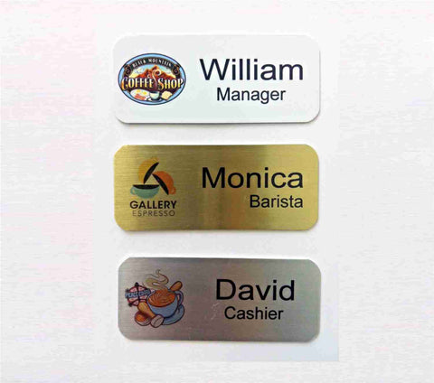 "Set of 12 Name Badges 1.25"" x 3.0"" Brushed Aluminum - Color Logo - Magnet or Pin Back Fastener - Custom Made - Business Professional Office"