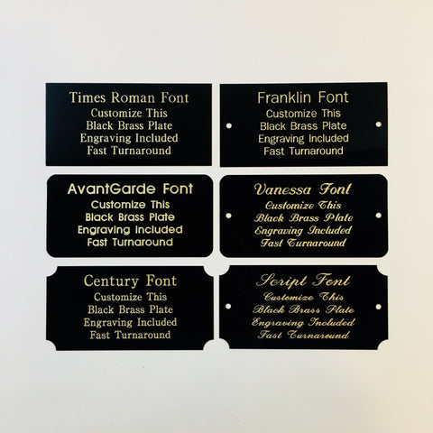 "2"" x 4"" Engraved Solid Black Brass Plate Gold Etched Letters"