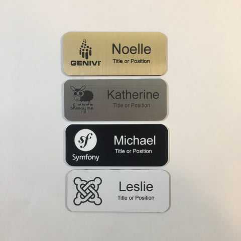 "Set of Twelve 1.25"" x 3.0"" Logo Name Badge Laser Engraved Rounded Corners Magnet Back Custom Made - Business Professional Office Sales Clerk"