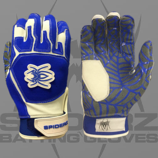 Spiderz Batting Gloves-Bllue/White