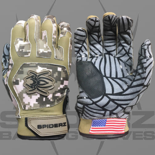 Spiderz Batting Gloves-Brown/Pink Camo
