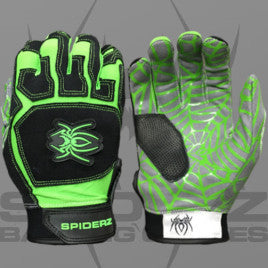 Spiderz Batting Gloves-Lime/Black
