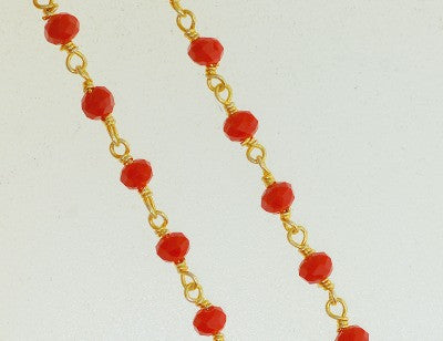 BC-08 Beads Chain. Orange color crystal quartz.