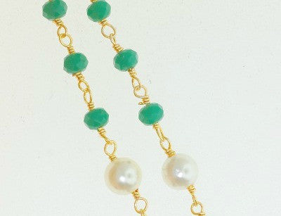 BC-11 Beads Chain. Dark green crystal quartz with shell pearl.