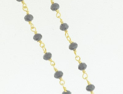 BC-12 Beads Chain. Black crystal quartz.