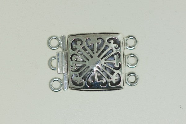 Boxs13 -Sterling Silver box Clasp with 3 strands