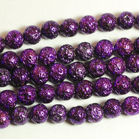 8 mm mixed color electroplated Lava Beads