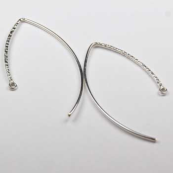 EW4- Sterling Silver V shape ear wire with textured in front. Price per 5 pairs.