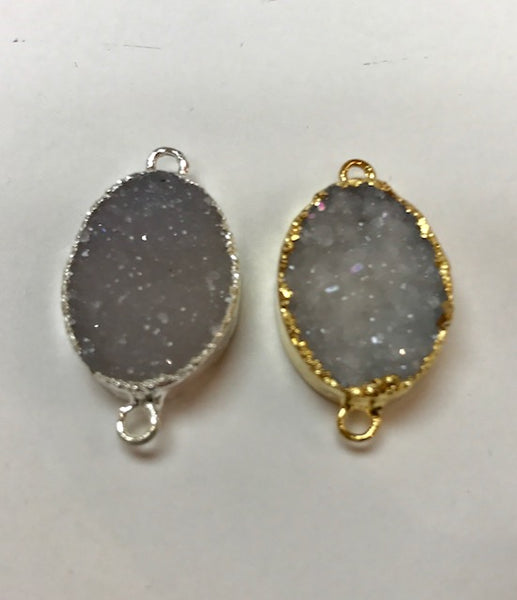 Druzy Connector - Gray and Creamy color druzy connector